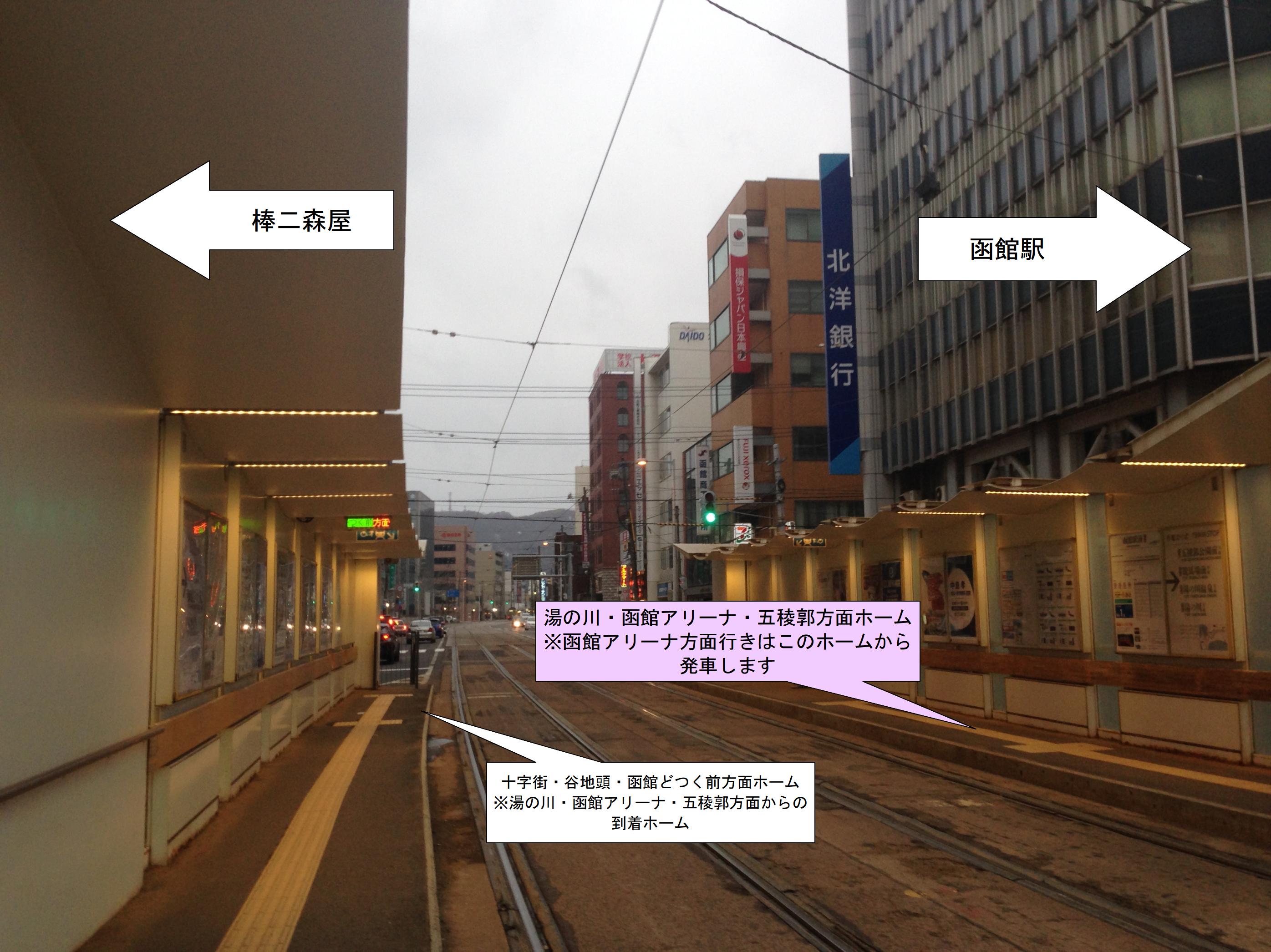 函館市電 函館駅前電停案内写真